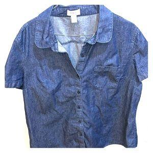 Short sleeved denim button down from Loft size XL